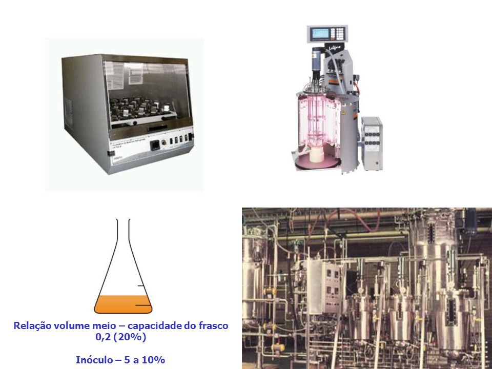 Relação volume meio – capacidade do frasco