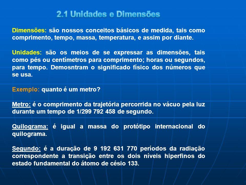2.1 Unidades e Dimensões Dimensões: são nossos conceitos básicos de medida, tais como comprimento, tempo, massa, temperatura, e assim por diante.
