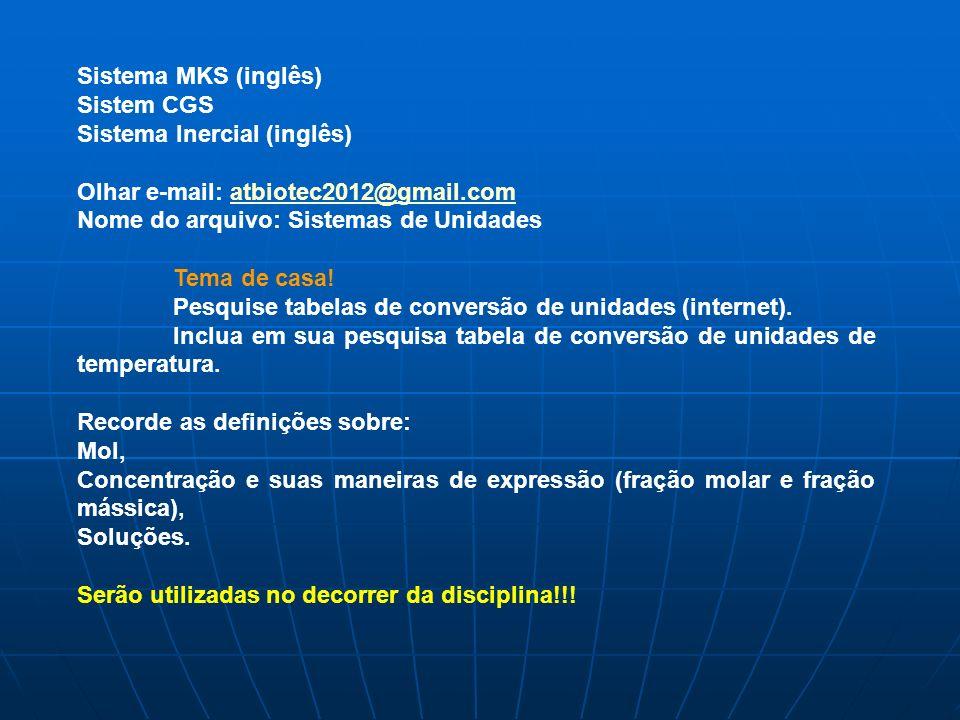 Sistema MKS (inglês) Sistem CGS. Sistema Inercial (inglês) Olhar e-mail: atbiotec2012@gmail.com. Nome do arquivo: Sistemas de Unidades.