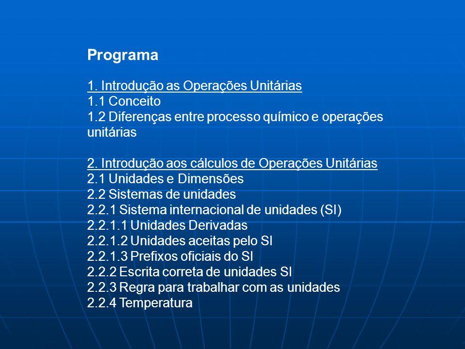 Programa 1. Introdução as Operações Unitárias 1.1 Conceito