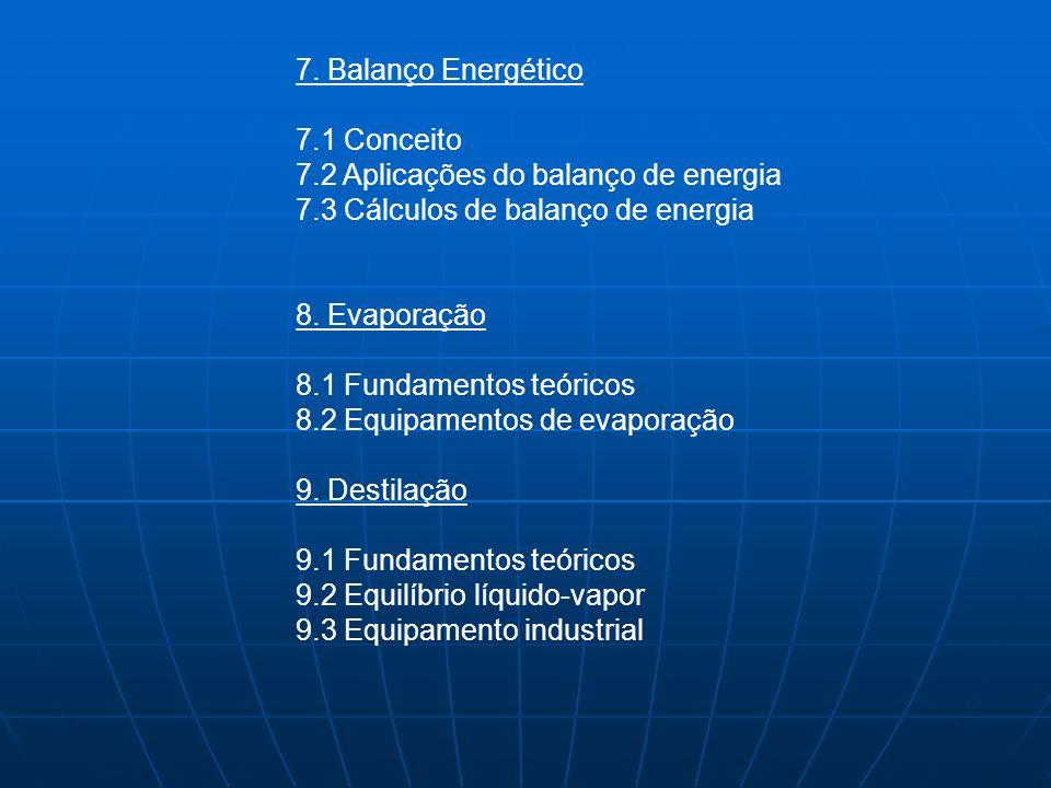 7. Balanço Energético 7.1 Conceito. 7.2 Aplicações do balanço de energia. 7.3 Cálculos de balanço de energia.