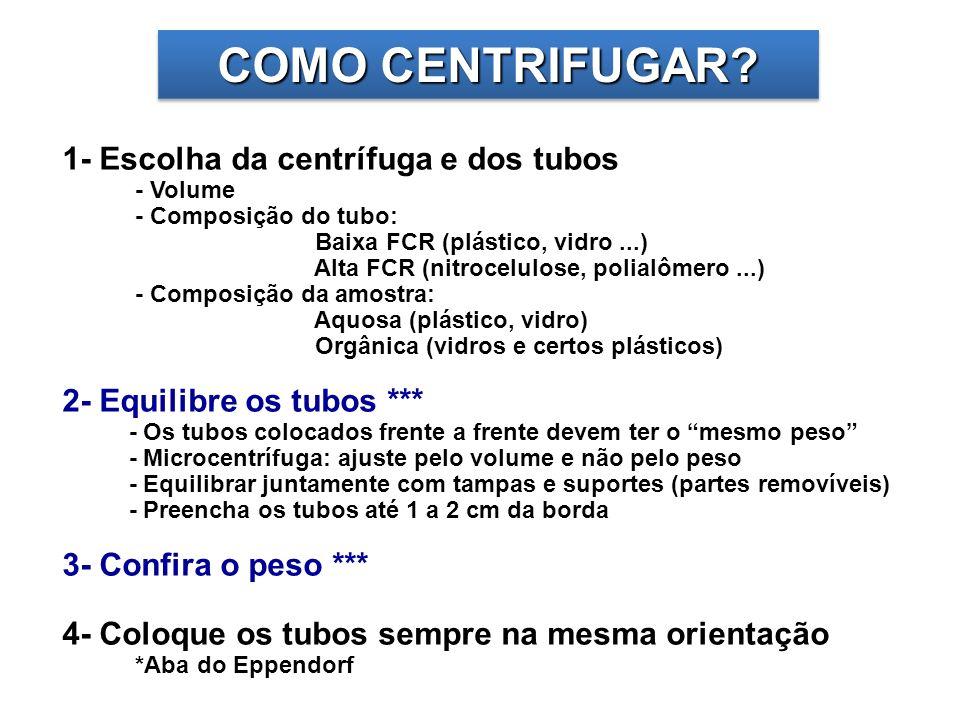 COMO CENTRIFUGAR 1- Escolha da centrífuga e dos tubos