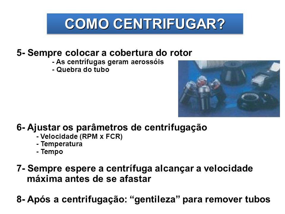 COMO CENTRIFUGAR 5- Sempre colocar a cobertura do rotor