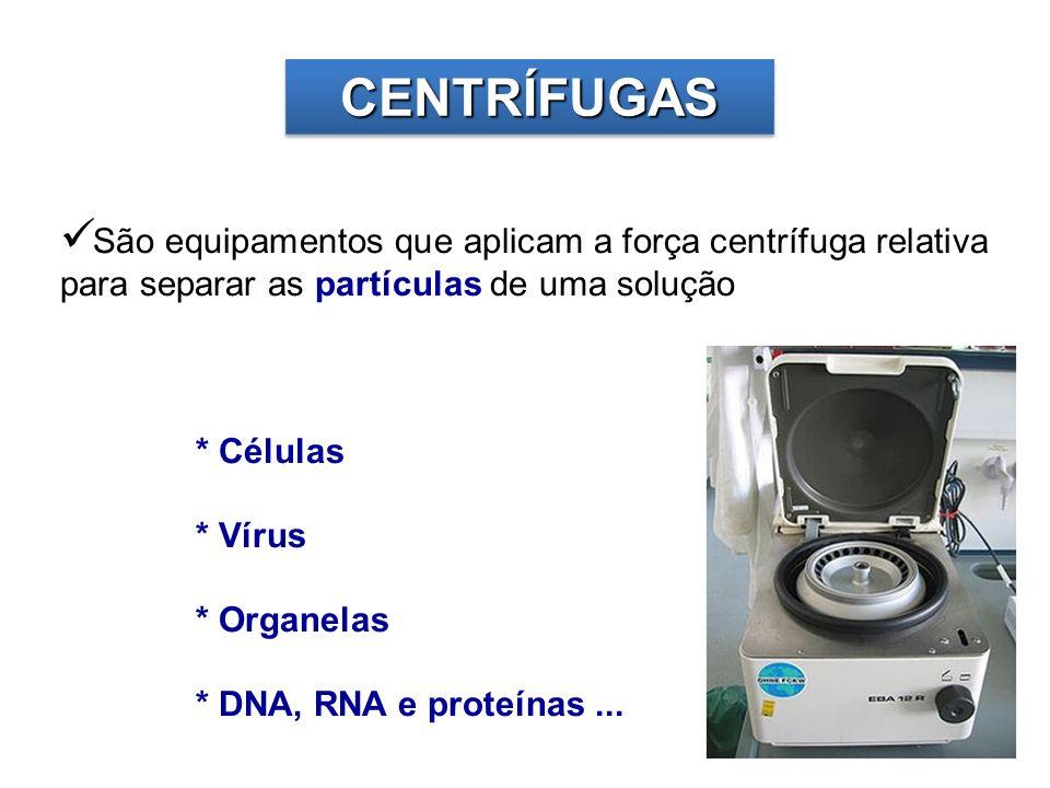 CENTRÍFUGAS São equipamentos que aplicam a força centrífuga relativa para separar as partículas de uma solução.