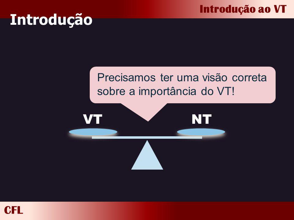 Introdução Precisamos ter uma visão correta sobre a importância do VT! VT NT