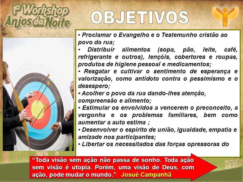 OBJETIVOS Proclamar o Evangelho e o Testemunho cristão ao povo da rua;