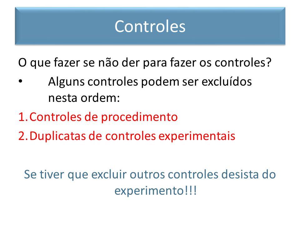 Se tiver que excluir outros controles desista do experimento!!!