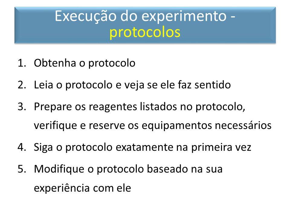Execução do experimento - protocolos