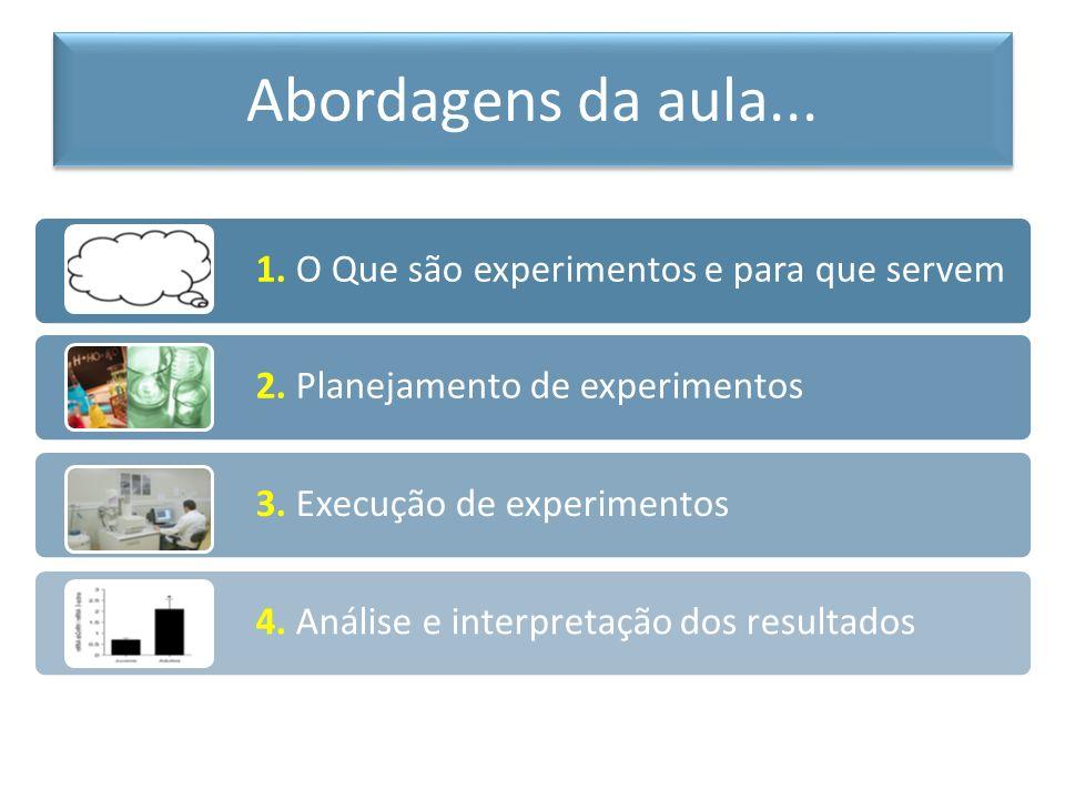 Abordagens da aula... 1. O Que são experimentos e para que servem