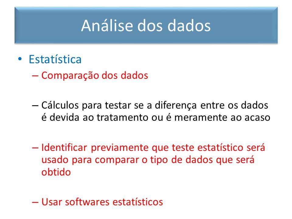 Análise dos dados Estatística Comparação dos dados