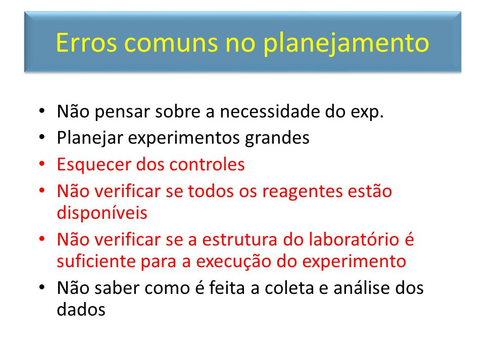 Erros comuns no planejamento