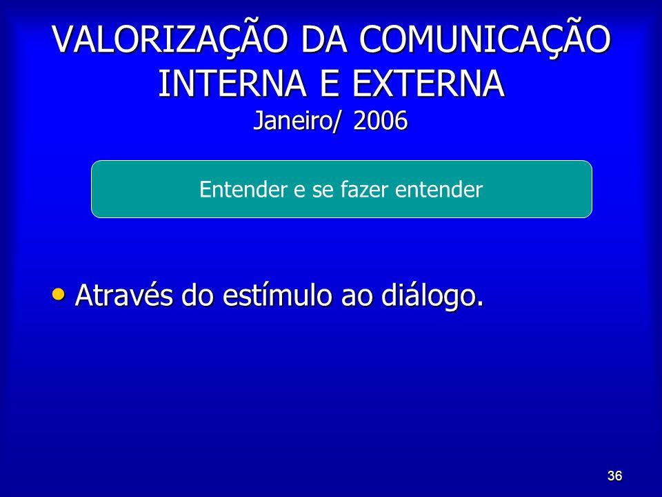 VALORIZAÇÃO DA COMUNICAÇÃO INTERNA E EXTERNA Janeiro/ 2006
