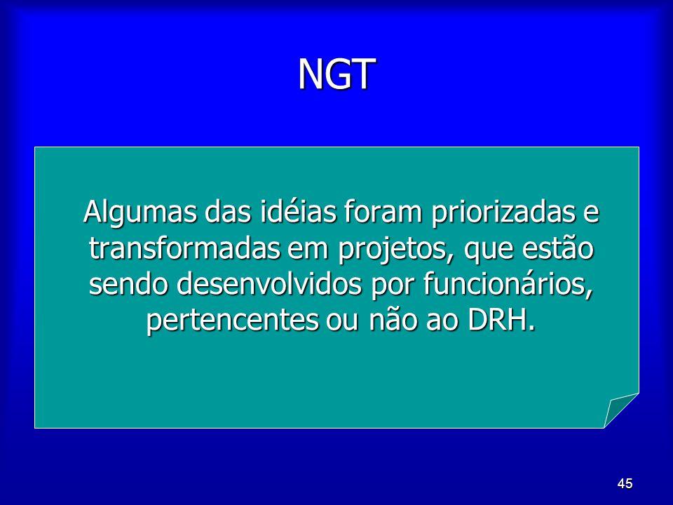NGT Algumas das idéias foram priorizadas e transformadas em projetos, que estão sendo desenvolvidos por funcionários, pertencentes ou não ao DRH.
