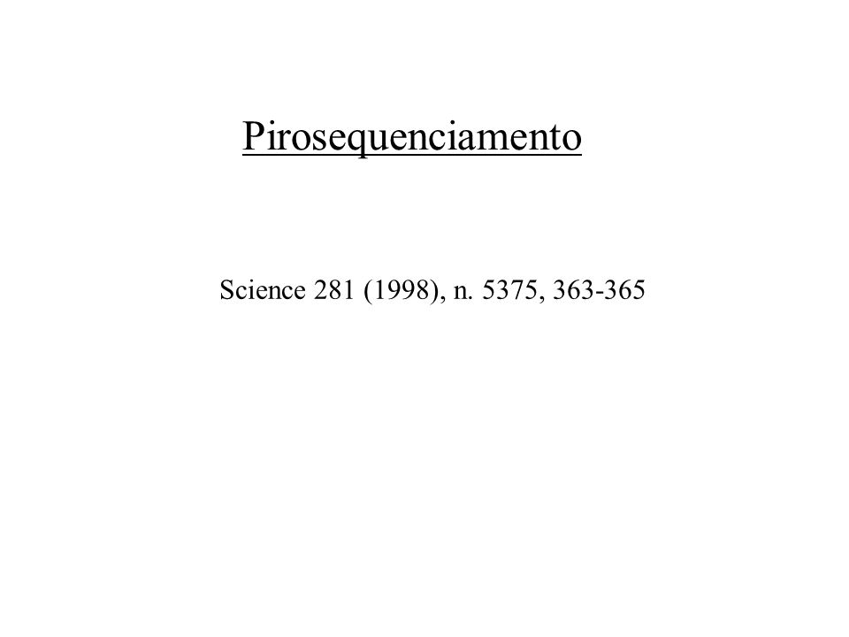Pirosequenciamento Science 281 (1998), n. 5375, 363-365