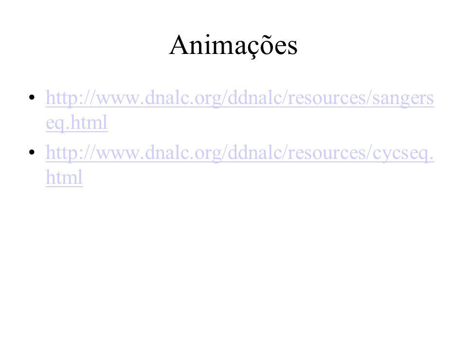 Animações http://www.dnalc.org/ddnalc/resources/sangerseq.html