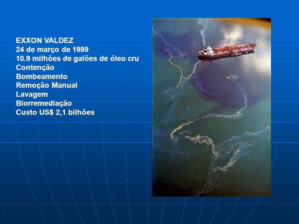 EXXON VALDEZ 24 de março de 1989. 10.9 milhões de galões de óleo cru. Contenção. Bombeamento. Remoção Manual.