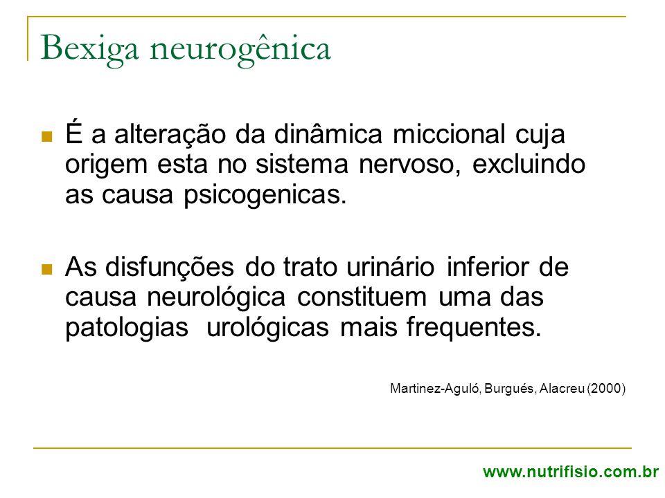 Bexiga neurogênica É a alteração da dinâmica miccional cuja origem esta no sistema nervoso, excluindo as causa psicogenicas.
