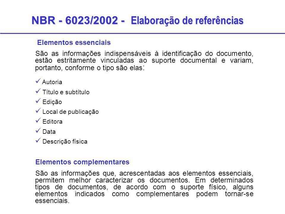 NBR - 6023/2002 - Elaboração de referências