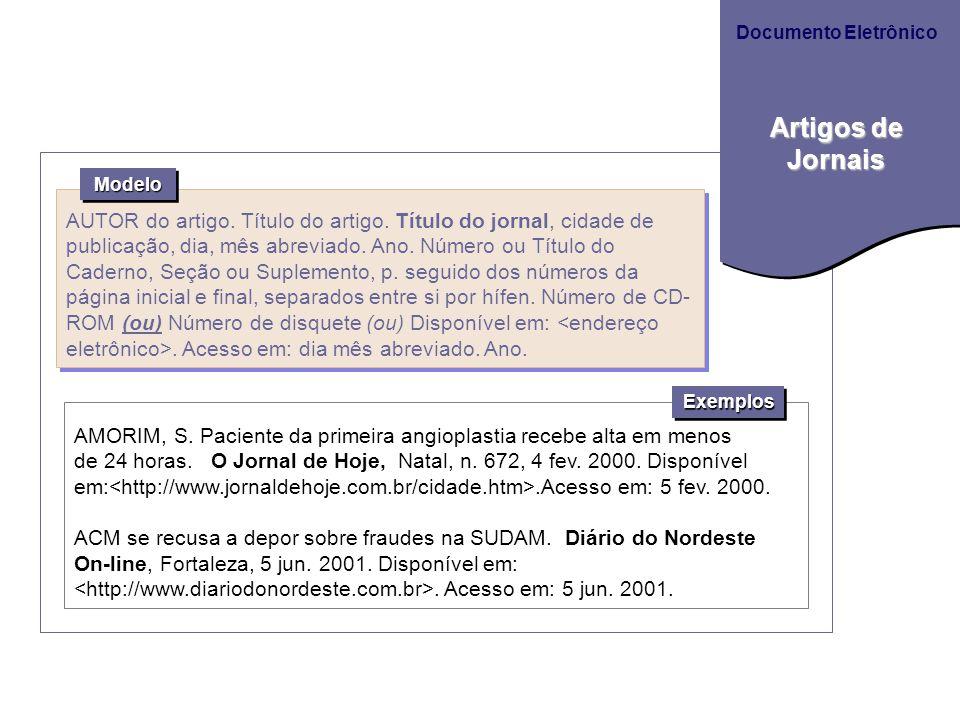 Documento Eletrônico Artigos de Jornais. Modelo.