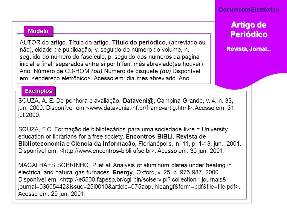 Documento Eletrônico Artigo de Periódico. Revista, Jornal... Modelo.