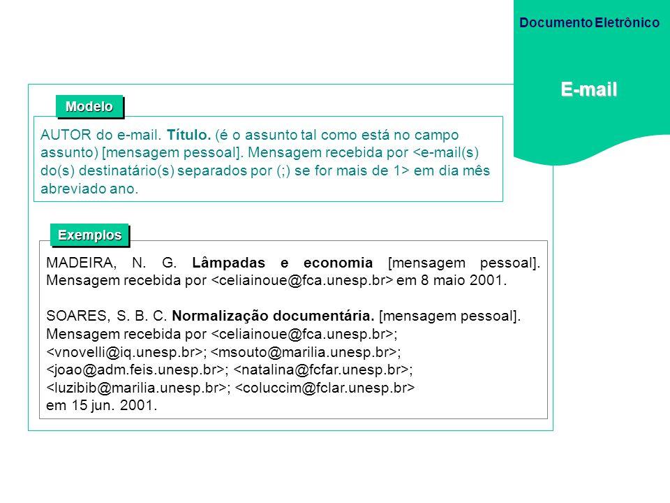 Documento Eletrônico E-mail. Modelo.
