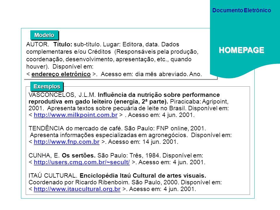 Documento Eletrônico HOMEPAGE. Modelo.