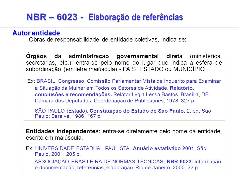 NBR – 6023 - Elaboração de referências