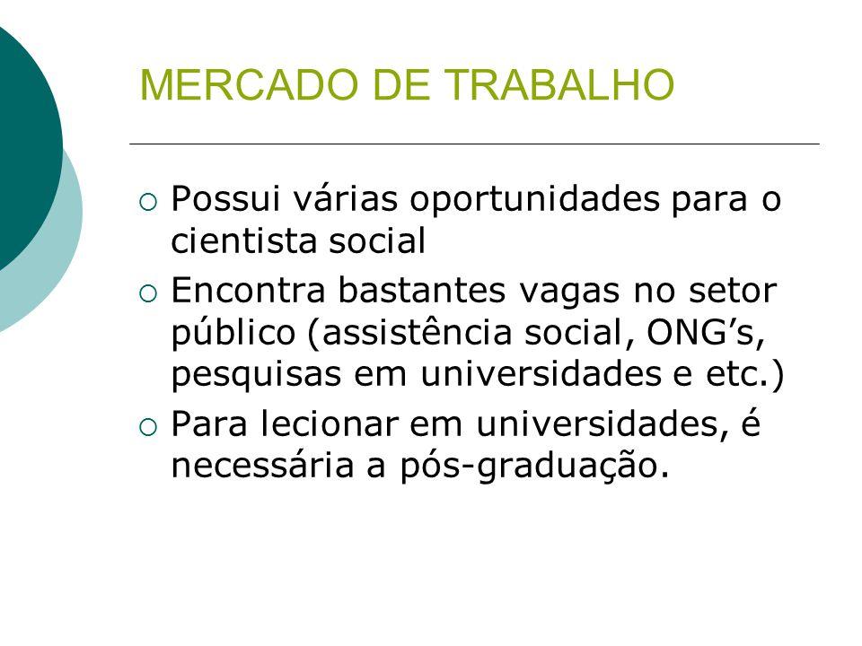 MERCADO DE TRABALHO Possui várias oportunidades para o cientista social.