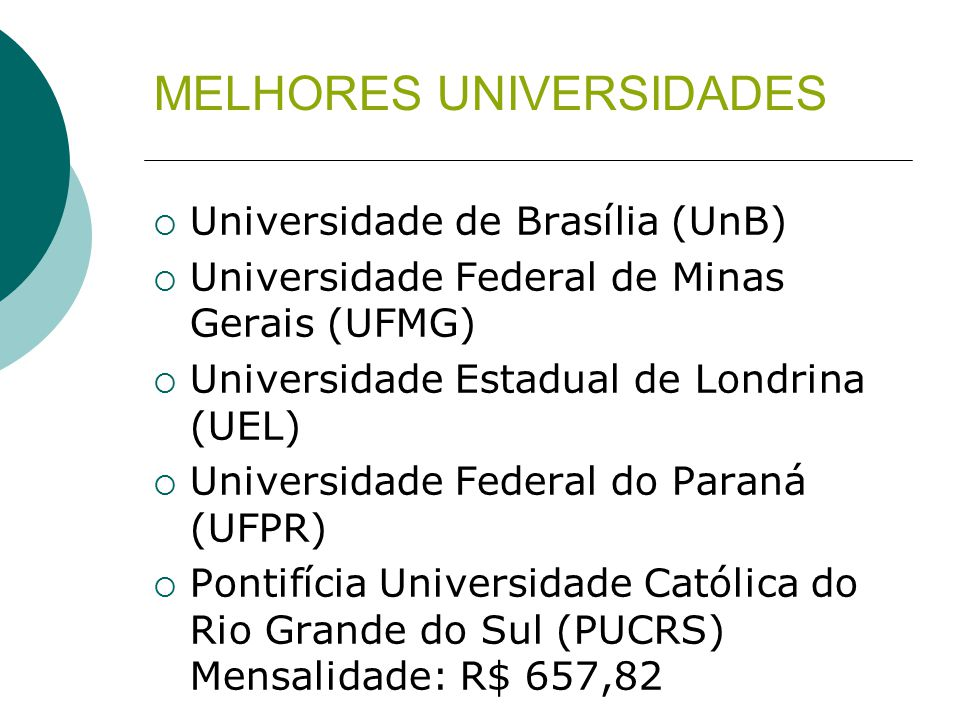 MELHORES UNIVERSIDADES