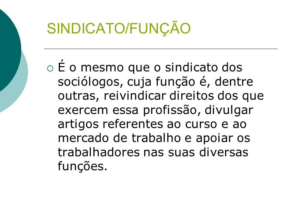 SINDICATO/FUNÇÃO