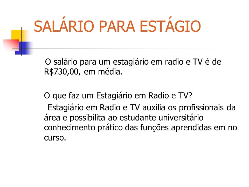 SALÁRIO PARA ESTÁGIO