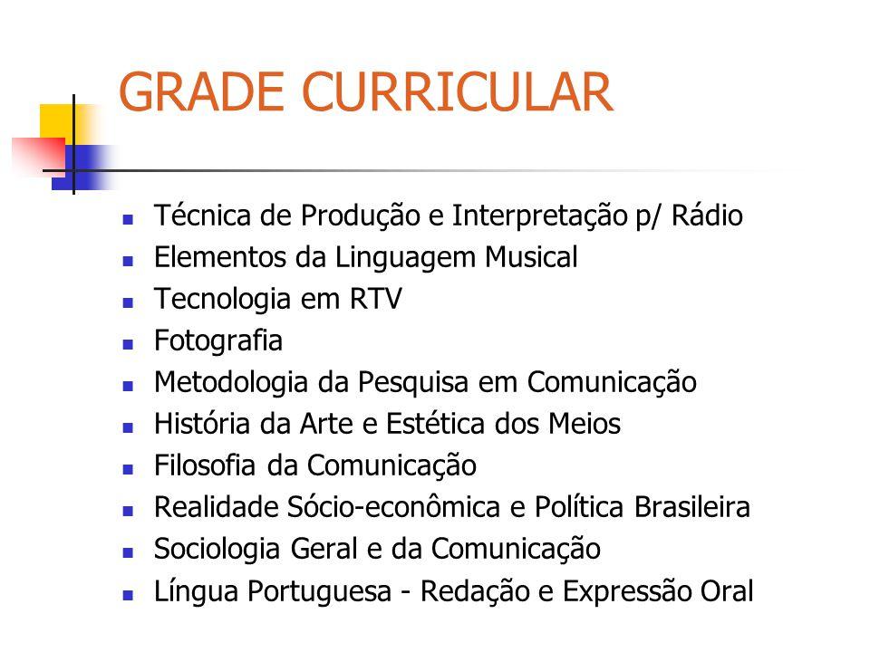 GRADE CURRICULAR Técnica de Produção e Interpretação p/ Rádio