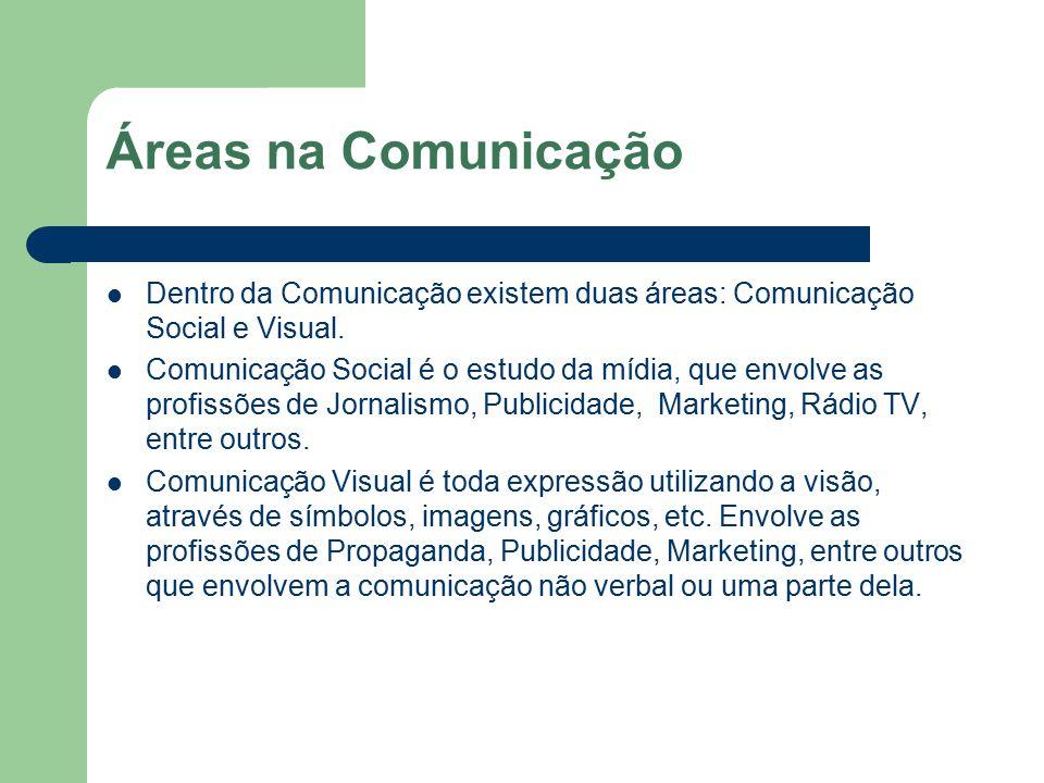 Áreas na Comunicação Dentro da Comunicação existem duas áreas: Comunicação Social e Visual.