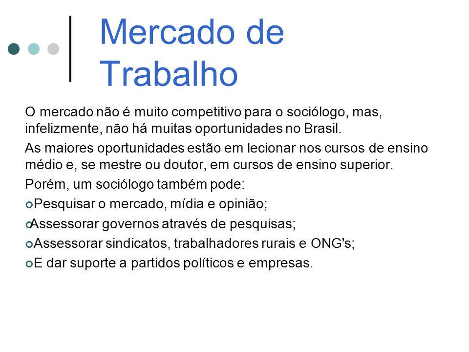 Mercado de Trabalho O mercado não é muito competitivo para o sociólogo, mas, infelizmente, não há muitas oportunidades no Brasil.