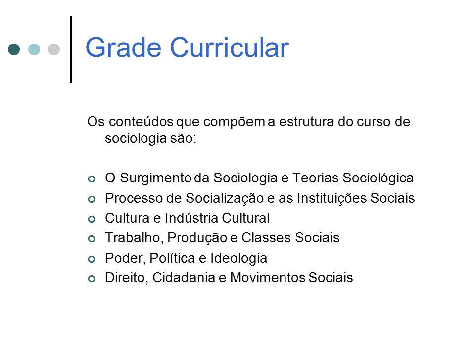 Grade Curricular Os conteúdos que compõem a estrutura do curso de sociologia são: O Surgimento da Sociologia e Teorias Sociológica.