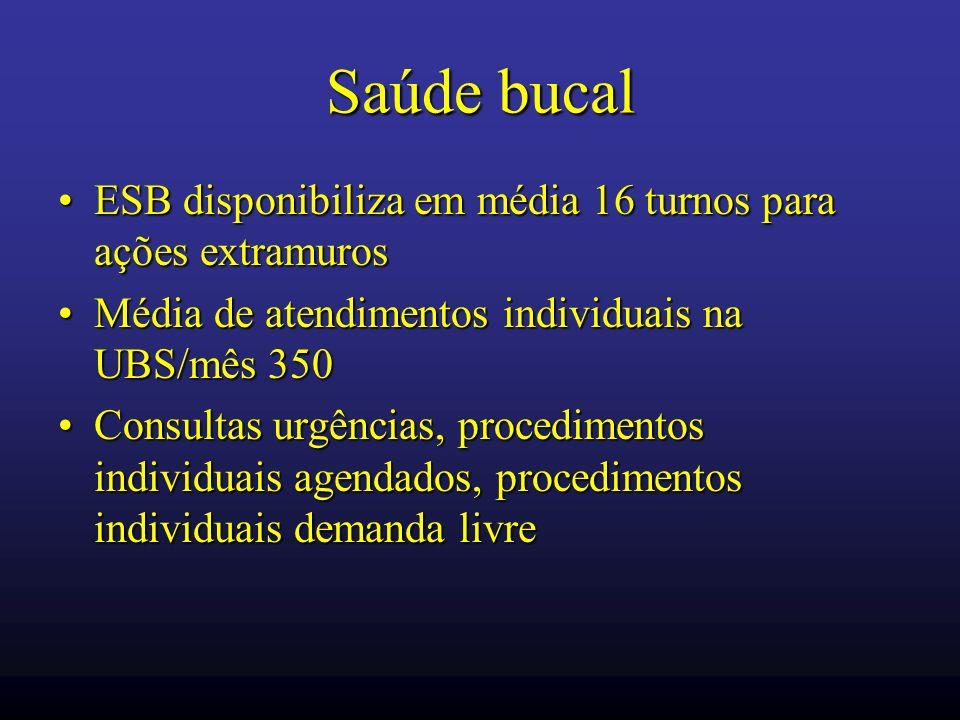 Saúde bucal ESB disponibiliza em média 16 turnos para ações extramuros