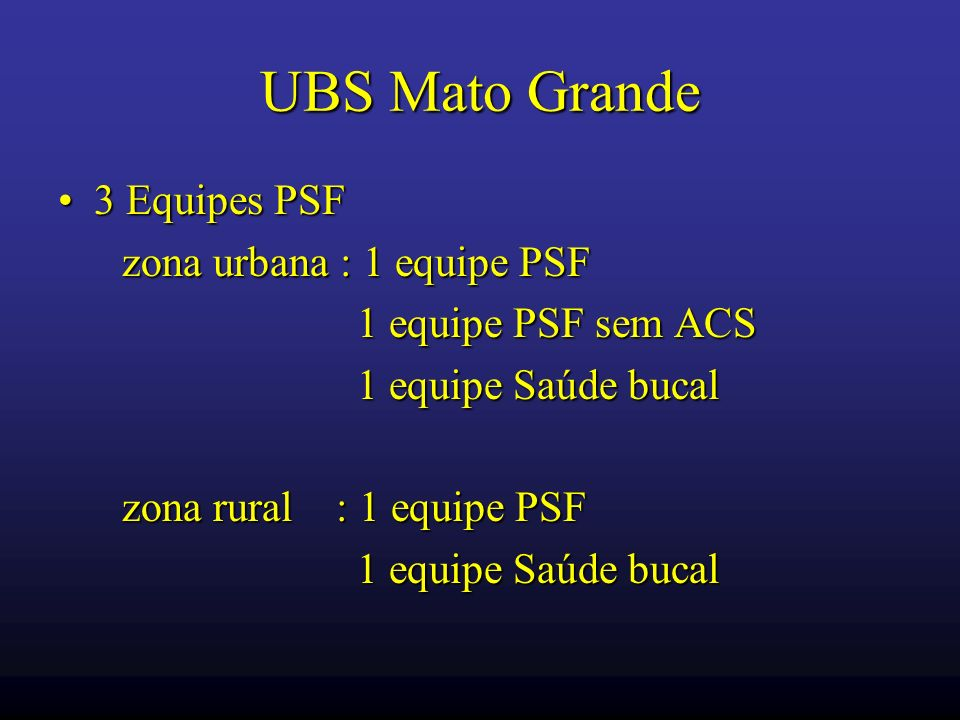 UBS Mato Grande 3 Equipes PSF zona urbana : 1 equipe PSF