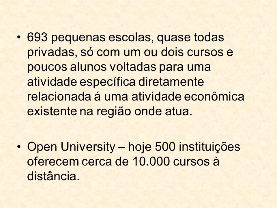 693 pequenas escolas, quase todas privadas, só com um ou dois cursos e poucos alunos voltadas para uma atividade específica diretamente relacionada á uma atividade econômica existente na região onde atua.