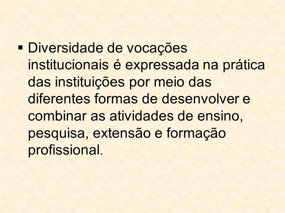 Diversidade de vocações institucionais é expressada na prática das instituições por meio das diferentes formas de desenvolver e combinar as atividades de ensino, pesquisa, extensão e formação profissional.