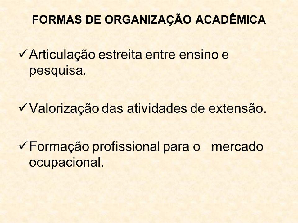 FORMAS DE ORGANIZAÇÃO ACADÊMICA