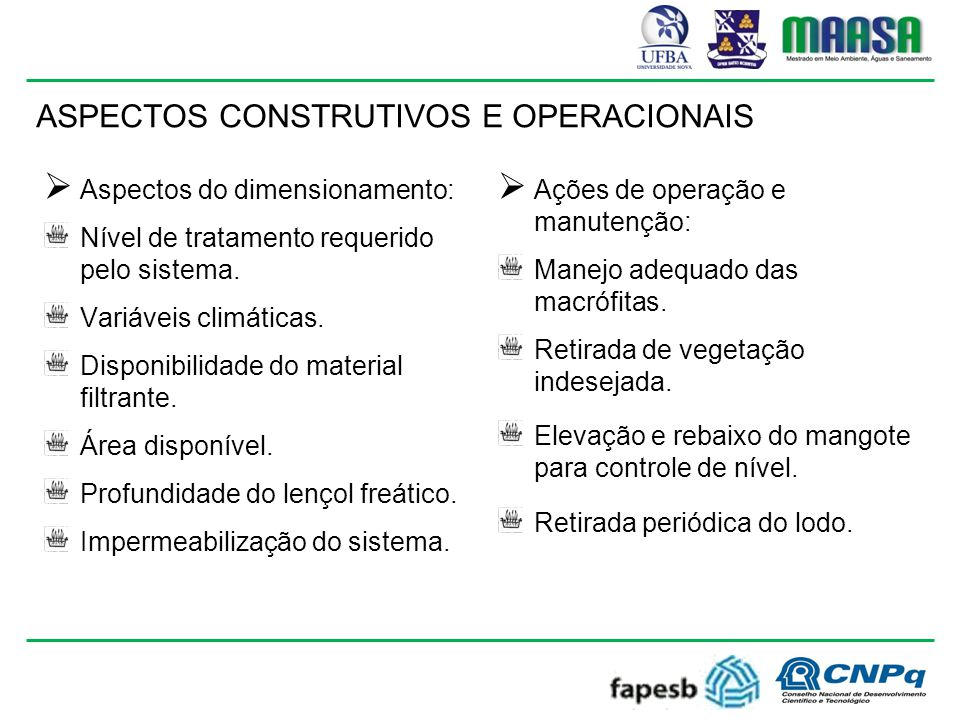 ASPECTOS CONSTRUTIVOS E OPERACIONAIS