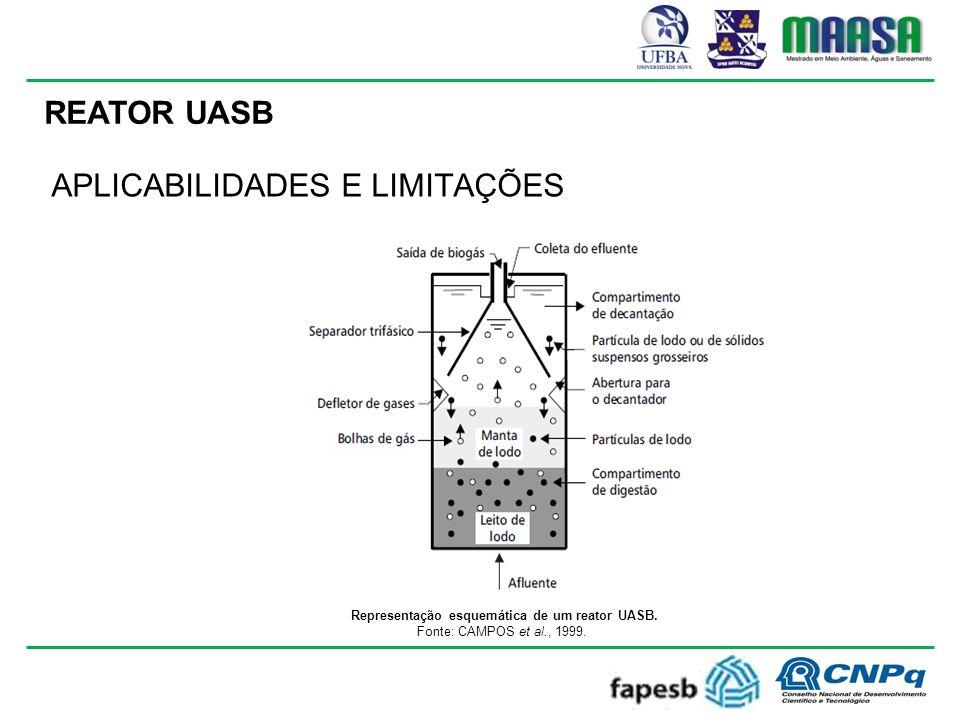 Representação esquemática de um reator UASB.