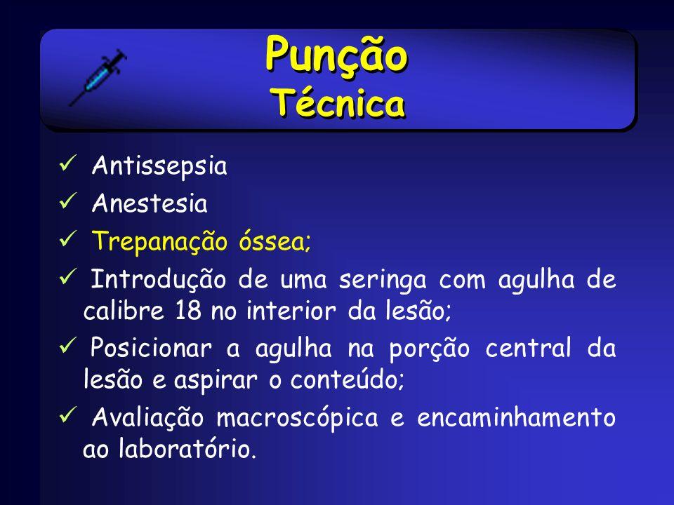 Punção Técnica Antissepsia Anestesia Trepanação óssea;