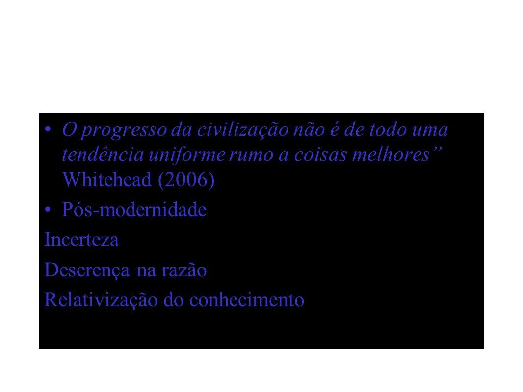 O progresso da civilização não é de todo uma tendência uniforme rumo a coisas melhores Whitehead (2006)