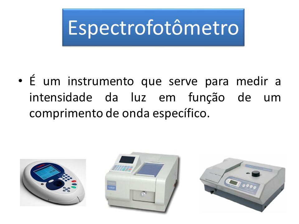 Espectrofotômetro É um instrumento que serve para medir a intensidade da luz em função de um comprimento de onda específico.