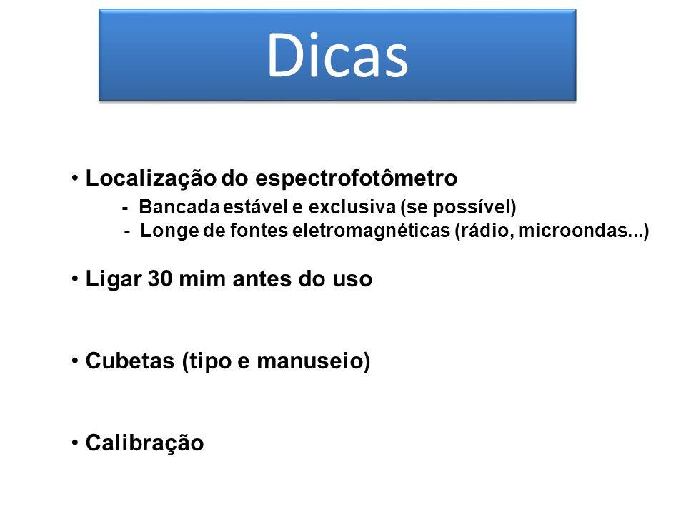 Dicas Localização do espectrofotômetro