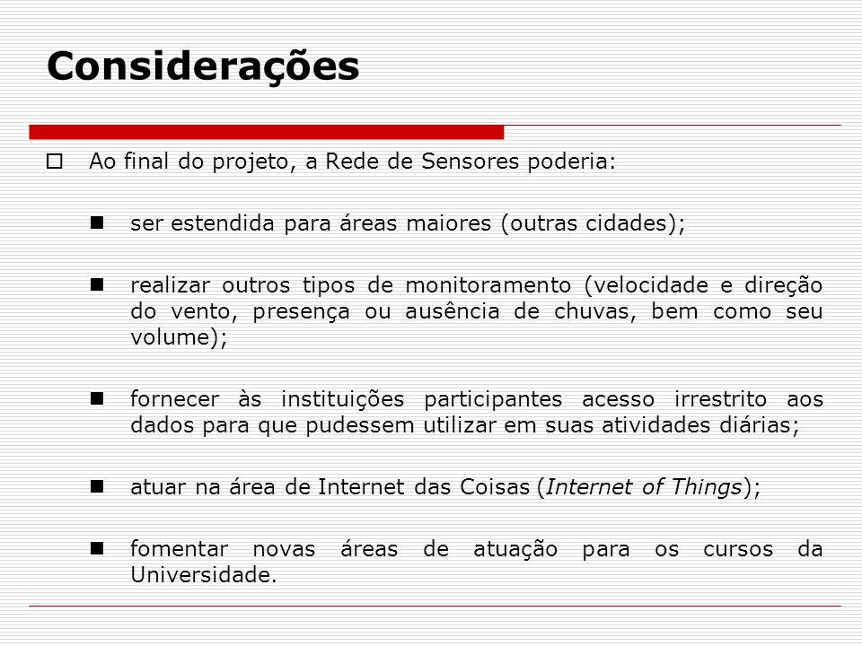 Considerações Ao final do projeto, a Rede de Sensores poderia: