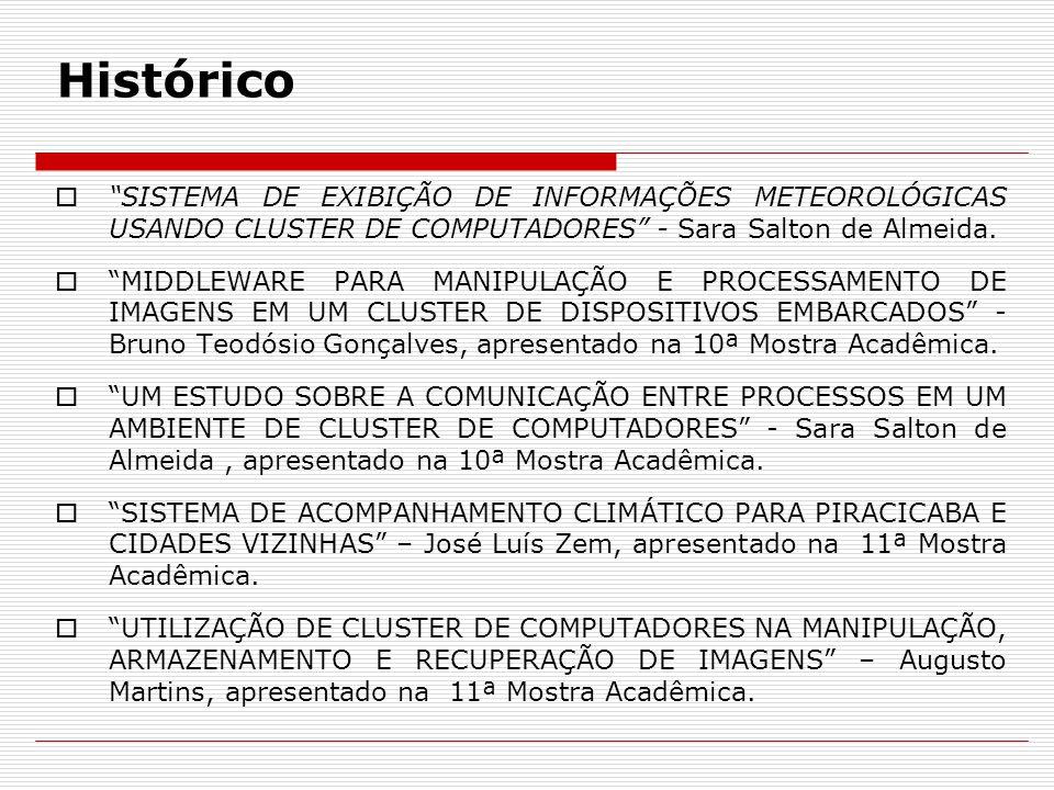 Histórico SISTEMA DE EXIBIÇÃO DE INFORMAÇÕES METEOROLÓGICAS USANDO CLUSTER DE COMPUTADORES - Sara Salton de Almeida.
