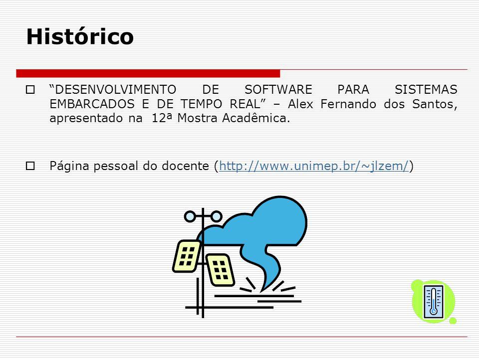 Histórico DESENVOLVIMENTO DE SOFTWARE PARA SISTEMAS EMBARCADOS E DE TEMPO REAL – Alex Fernando dos Santos, apresentado na 12ª Mostra Acadêmica.