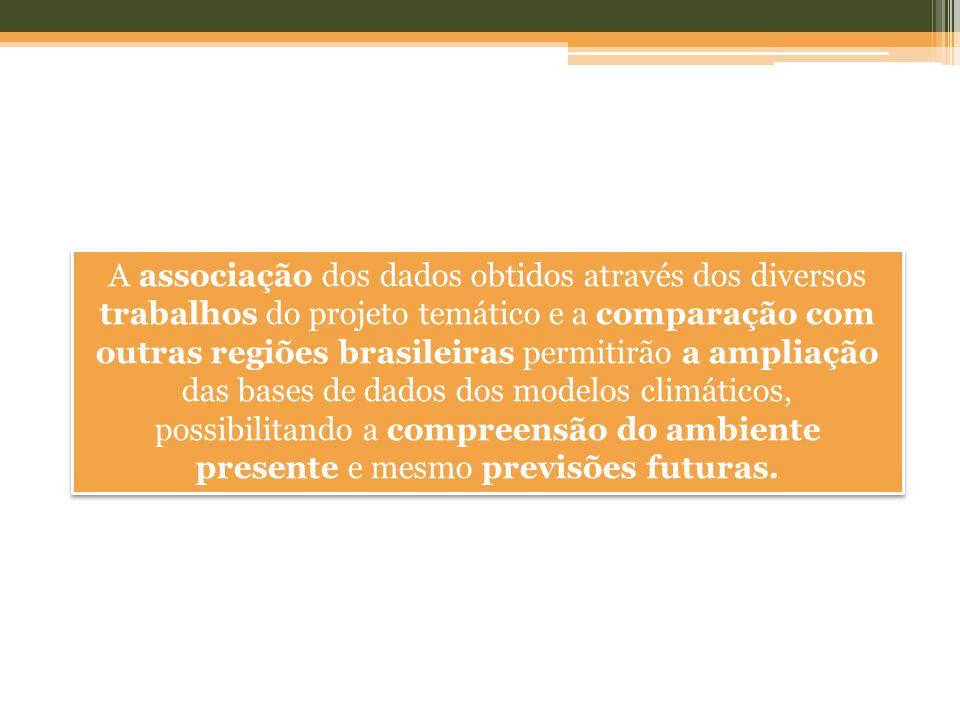 A associação dos dados obtidos através dos diversos trabalhos do projeto temático e a comparação com outras regiões brasileiras permitirão a ampliação das bases de dados dos modelos climáticos, possibilitando a compreensão do ambiente presente e mesmo previsões futuras.